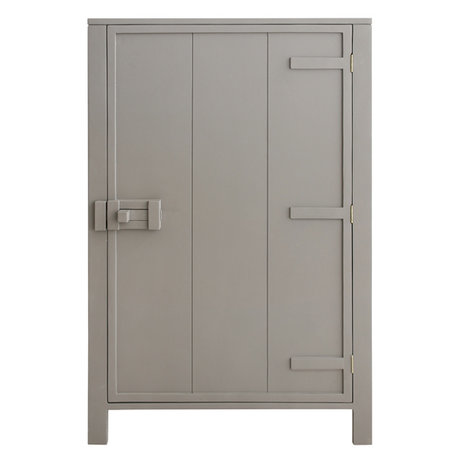 HK-living Cabinet with single door wood taupe brown 81x36x122cm