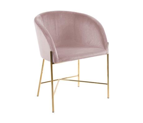 wonenmetlef Chaise de salle à manger Manny poussiéreux or rose VIC textile métal 56x54x76cm