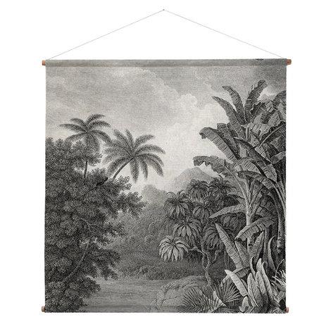 HK-living École Poster Jungle bois multicolore coton imprimé XXL 154x154x2cm