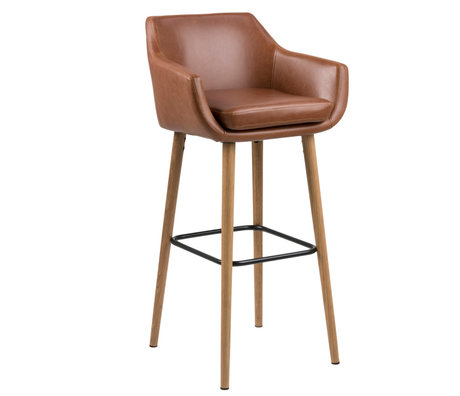 wonenmetlef Barstool Yara vintage brown PU leather wood 55x54x101cm