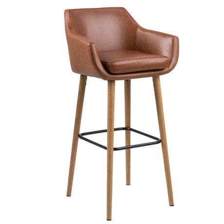 wonenmetlef Tabouret Yara vintage cuir PU marron bois 55x54x101cm