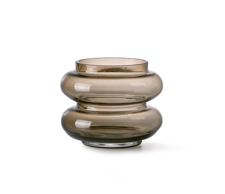 HK-living Vaas Smoked bruin glas S Ø13,5x10,5cm