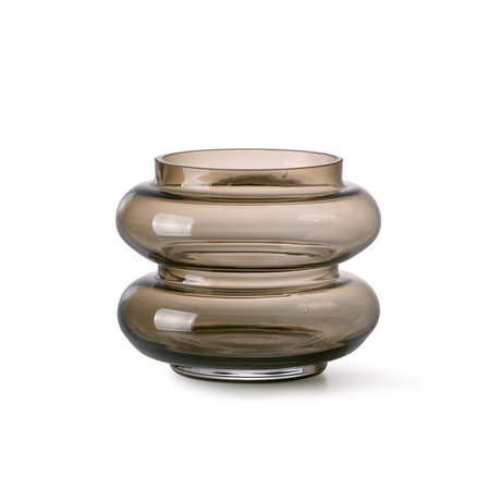 HK-living Vase Geräuchertes braunes Glas S Ø13,5x10,5cm