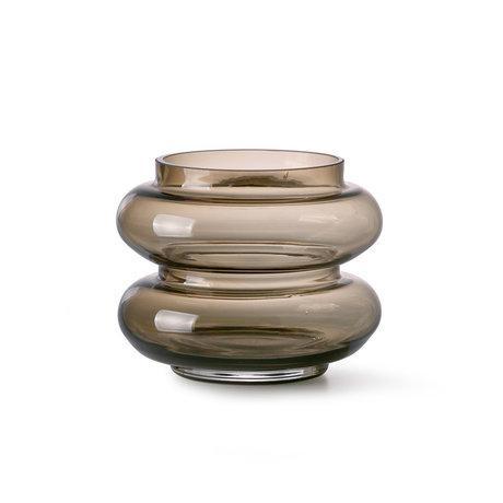 HK-living Vase Verre Marron Fumé S Ø13,5x10,5cm