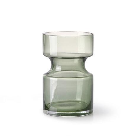 HK-living Vaas groen glas M Ø11x17cm