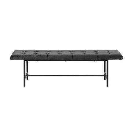 wonenmetlef Banc Floortje gris foncé 28 noir VIC acier textile 160x37x46.5cm