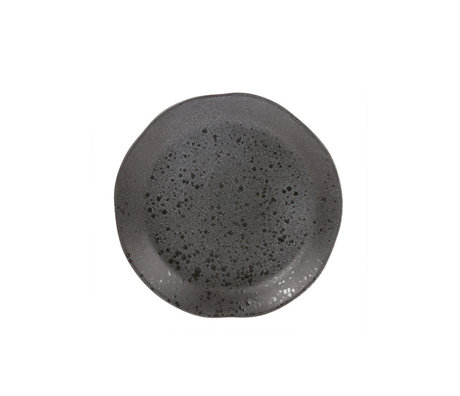 HK-living ontbijt bord grijs keramiek bold & basic 21x21x3cm