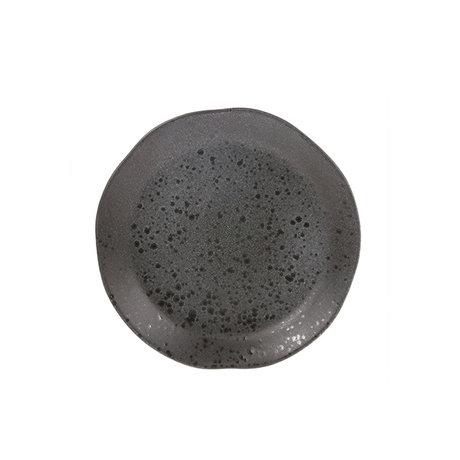HK-living Plaque de petit déjeuner gris céramiques bold & basic 21x21x3cm