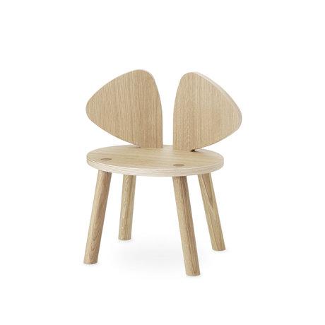 NOFRED chaise enfant en bas âge souris bois de chêne brun naturel 42.5x28x46.4cm