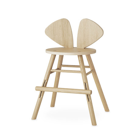 NOFRED children's stool mouse natural brown oak wood 51.59x43.93x77.3cm