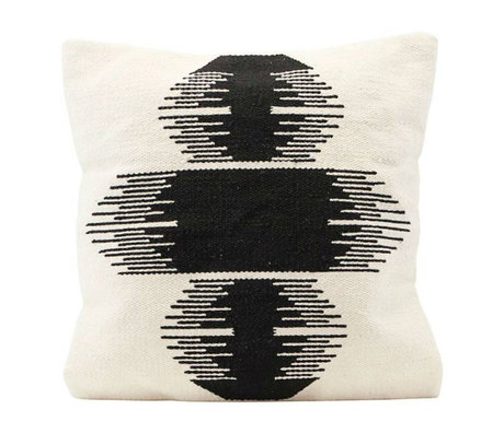 Housedoctor Housse de coussin Ginea cassé blanc noir coton 50x50cm