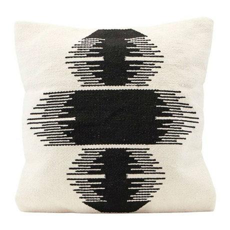 Housedoctor Kissenhülle Ginea gebrochen weiß schwarz Baumwolle 50x50cm