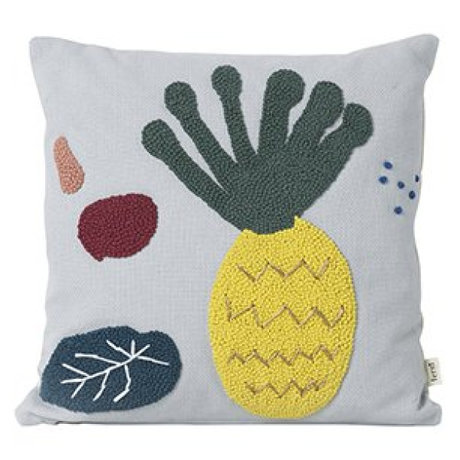 Ferm Living Cushion Pineapple light blue cotton canvas 40x40cm