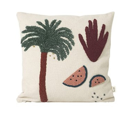 Ferm Living Cushion Palm Cream Cotton Canvas 40x40cm