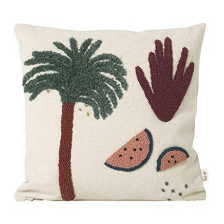 Ferm Living Kissen Palm Creme Baumwolle Leinwand 40x40cm