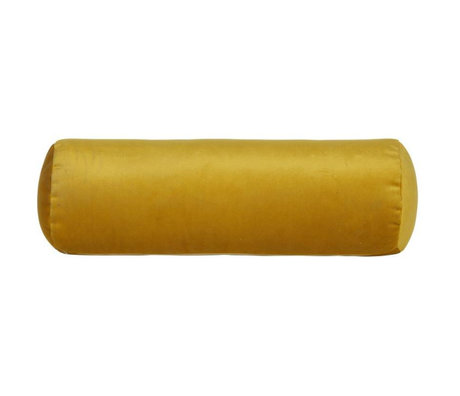 BePureHome Coussin Rouleau Bobine velours jaune ocre jaune Ø20x61cm