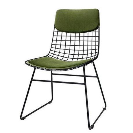 HK-living Confort velours Kit chaise fil métallique vert