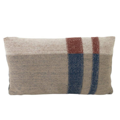Ferm Living Cushion Medley Knit two-sided multicolour beige dark blue cotton S 40x25cm