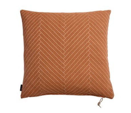 OYOY Fluffy Cushion Herringbone caramel brown cotton 50x50cm
