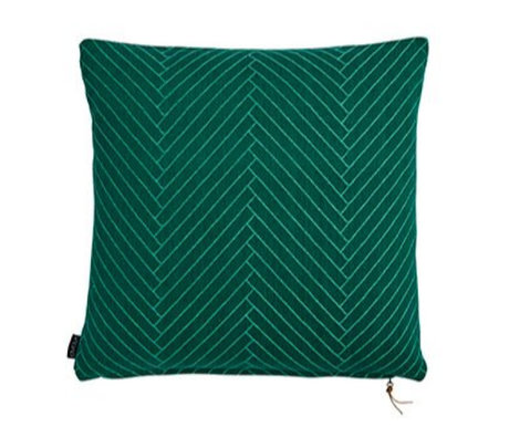OYOY Fluffy Cushion Herringbone green cotton 50x50cm