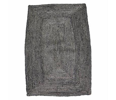 Housedoctor Tapis Structure noir 85x130cm chanvre gris