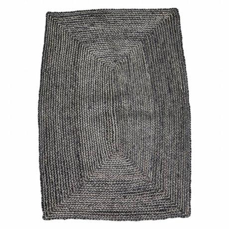 Housedoctor Vloerkleed Structure zwart grijs hennep 85x130cm