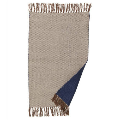 Ferm Living Rug Nomad beige dark blue recycled polyester S 60x90cm