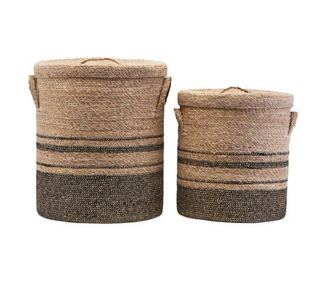 Housedoctor Laundry basket with lid sea grass set of 2
