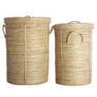 Housedoctor Chaka laundry basket set of 2 bamboo ø37x57cm and ø45x64cm