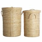 Housedoctor Chaka Wäschekorb 2er-Set Bambus ø37x57cm und ø45x64cm