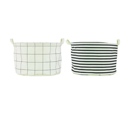 "Housedoctor Laundry basket ""Squares and Stripes white / black cotton / polyester / rayon Ø40x25cm set of 2"