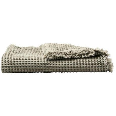 Housedoctor Plaid coton gris clair 170x120cm