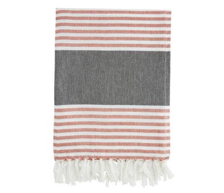 Madam Stoltz coton gris serviette rouge et blanc rayé 100x170cm