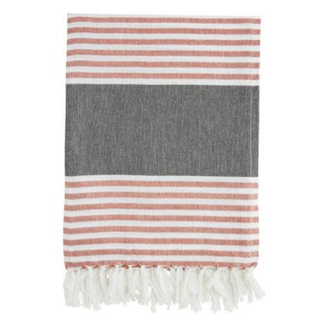 Madam Stoltz Handdoek rood wit gestreept grijs katoen 100x170cm