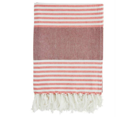 Madam Stoltz Handtuch rot-weiß gestreiften Burgunder Baumwolle 100x170cm