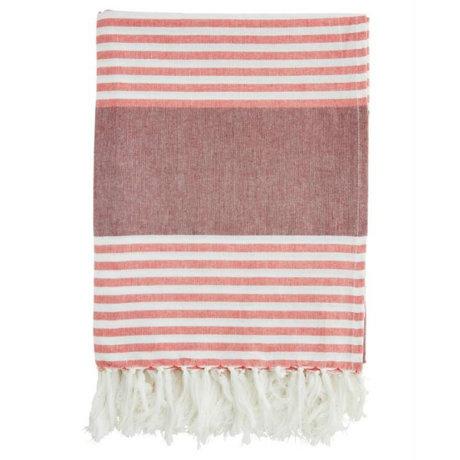 Madam Stoltz Serviette en coton bordeaux rayé rouge et blanc 100x170cm