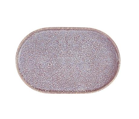 HK-living breakfast plate oval lilac ceramic gallery 23.5x14.5x1cm