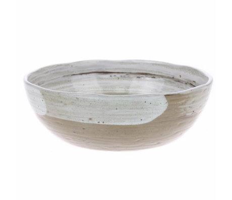 HK-living kom noedel met penseel strepen keramiek kyoto 17,8x17,8x5,7cm