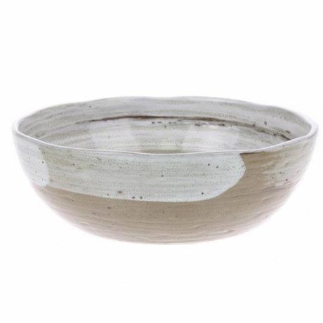 HK-living bowl noodle with brush stripes ceramic kyoto 17,8x17,8x5,7cm