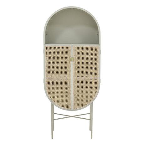 HK-living Kast retro ovaal licht grijs hout riet 65x30x160cm