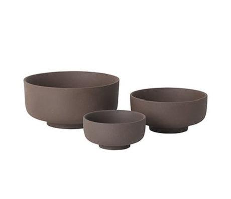 Ferm Living Geschirr Set von drei rotbraunen Keramik Sekki
