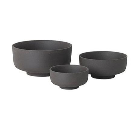 Ferm Living Geschirr Set von drei grauen Keramik Sekki