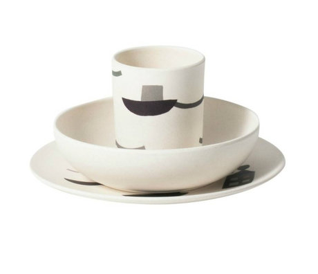 Ferm Living Servies Seaside multicolour bamboe set van 3