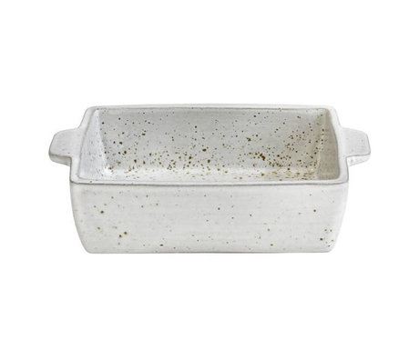 HK-living Oven dish with white speckled finish pottery 15x11x4,5cm