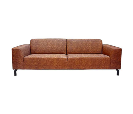 LEF collections Canapé Harlem 4 places Cognac Marron Cuir de Buffle 90x250x80cm