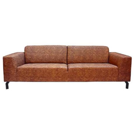 LEF collections Bank Harlem 4-zits Cognac bruin Buffalo Leder 90x250x80cm