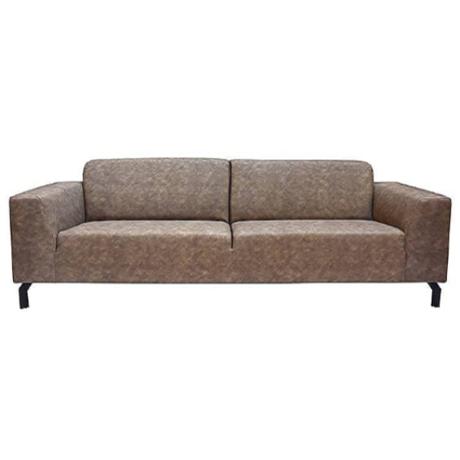 LEF collections Sofa Harlem 4-seater Stone gray Buffalo Leather 90x250x80cm