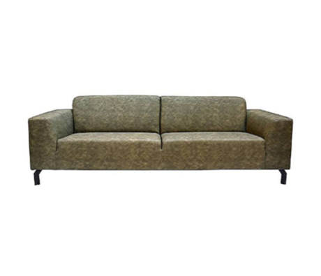 LEF collections Bank Harlem 4-seater Army green Buffalo Leather 90x250x80cm