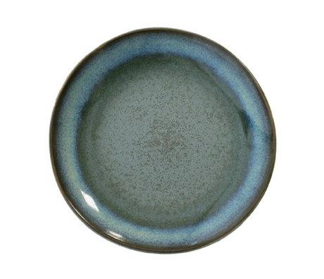 HK-living Dessert bord Moss '70's style blauw keramiek diameter 17,5cm