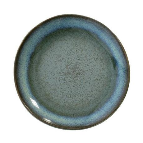 HK-living Dessertteller Moss '70er Jahre Stil blauen Keramik Durchmesser 17,5cm